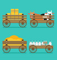 flat of wooden cart set vector image