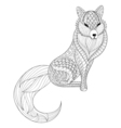 fox in entangle style freehand sketch for adult vector image vector image