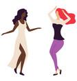girls on dance floor women moving disco vector image vector image