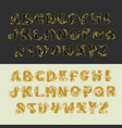 gold alphabet set of uppercase letters vector image