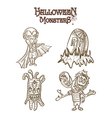 Halloween Monsters spooky characters set EPS10 vector image