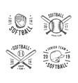 hand drawn emblem of softball vector image vector image