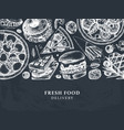 hand drawn food delivery vintage background for r vector image