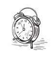 hand drawn sketch modern old alarm clock vector image
