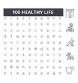 healthy life line icons signs set vector image vector image
