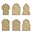 islamic classical windows and doors with arabic vector image