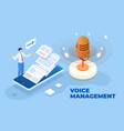 isometric voice management and digital sound wave vector image vector image