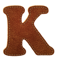 Leather textured letter K vector image vector image