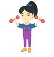 little smiling asian girl holding dumbbells vector image