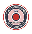 mountains patrol isolated label vector image vector image