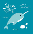 narwhal in flat style vector image vector image
