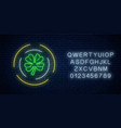 neon glowing clover leaf sign in circle frames vector image vector image