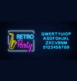 neon signboard of retro party in music bar vector image vector image