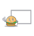 okay burger character fast food with board vector image vector image