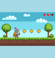 pixel-game knight brave character in armor vector image vector image