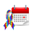 Puzzle awareness ribbon and calendar vector image