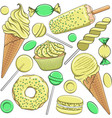 seamless pattern with yellow and green sweets vector image vector image