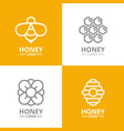 set of retro vintage honey and bee flower vector image vector image
