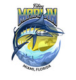 shirt design fishing marlin fish vector image vector image