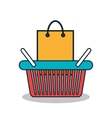 shopping bag and basket isolated icon design vector image
