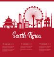 south korea landmarks silhouette seoul famous vector image vector image