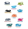 Sports stadiums and arena icons vector image