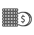 stack coins black icon banking and business vector image