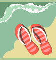 striped flip flops on sand near water summer vector image vector image