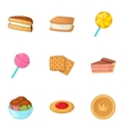Sweet bakery icons set cartoon style vector image vector image