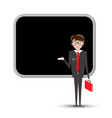 teacher or businessman with empty blackboard vector image