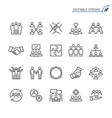 teamwork line icons editable stroke vector image