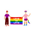 two gays holding rainbow flag vector image vector image