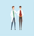 two smiling male doctors characters hospital vector image vector image