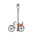 vintage bike with wine and cheese on streetlight vector image vector image