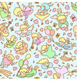 Seamless pattern from cartoon girls angels vector image