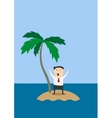 Businessman marooned on a tropical island vector image