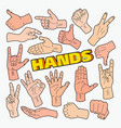 hands gestures doodle with different signs vector image
