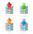 set of computer database with upload and download vector image