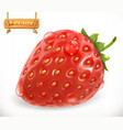 strawberry and water drops fresh fruit 3d icon vector image