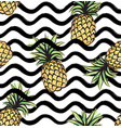 abstract wave seamless pattern with pineapple vector image vector image