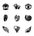 barnacle icons set simple style vector image vector image