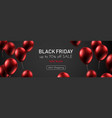 black friday sale promotion banner with red shiny vector image vector image
