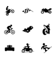 black racing icons set vector image