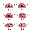 brain cartoon pattern with glasses in white vector image vector image