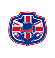 british auto repair shop union jack flag crest vector image vector image