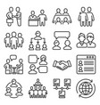 business cooperation management icons set on white vector image