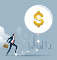 businessman keep inflating a bubble economy vector image vector image