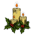 candles and holly berries and leaves vector image