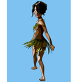 cartoon islander woman in a skirt and bra leaves vector image vector image