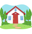 Cartoon of Cute Little House with Garden vector image vector image